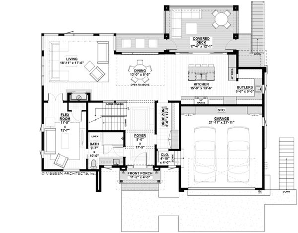 Contemporary Floor Plan - Main Floor Plan #928-353