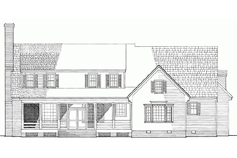 Country Exterior - Rear Elevation Plan #137-175 - Houseplans.com