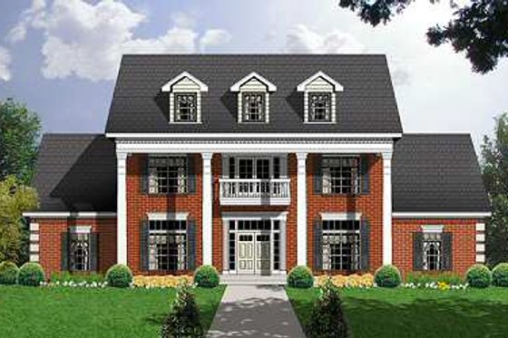 Colonial Exterior - Front Elevation Plan #40-244
