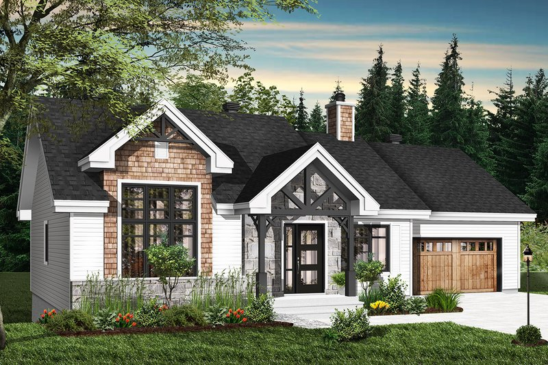 Ranch Style House Plan - 2 Beds 1 Baths 1240 Sq/Ft Plan #23-2665 Exterior - Front Elevation
