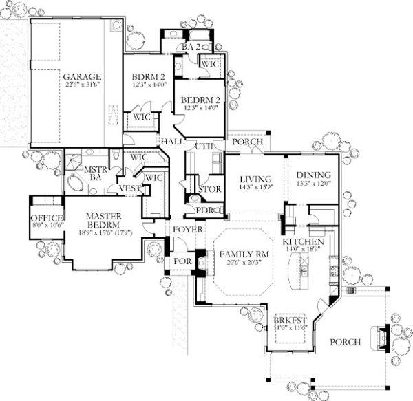 House Plan Design - European Floor Plan - Main Floor Plan #80-185