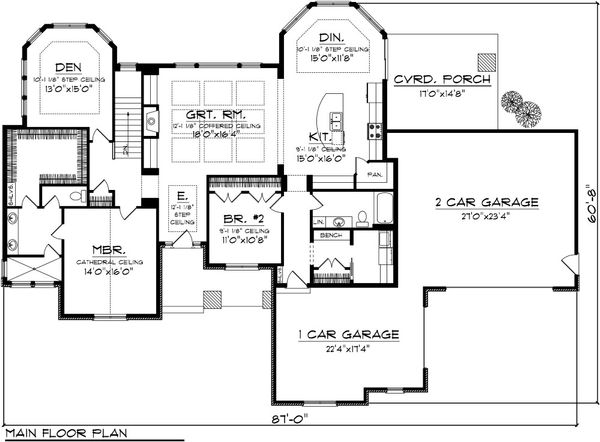 Ranch Floor Plan - Main Floor Plan Plan #70-1086
