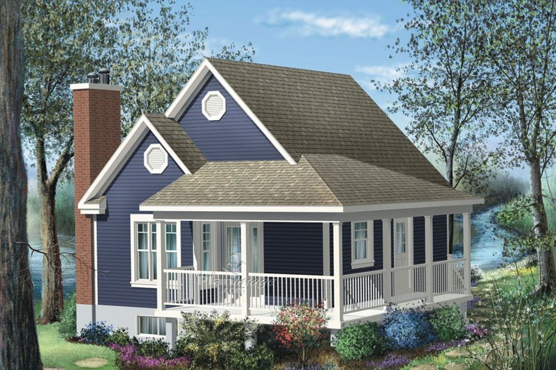 Cottage Style House Plan - 1 Beds 1 Baths 613 Sq/Ft Plan #25-4190