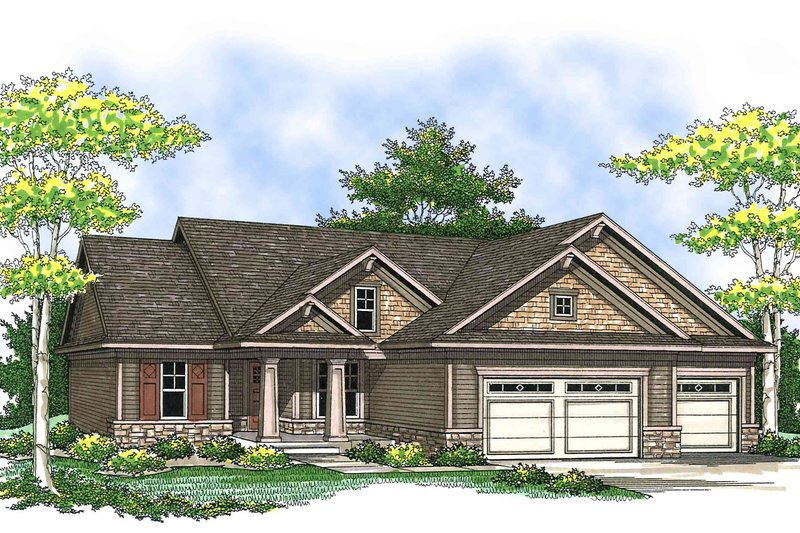 Bungalow Exterior - Front Elevation Plan #70-901 - Houseplans.com