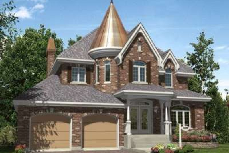 European Style House Plan - 4 Beds 2.5 Baths 2406 Sq/Ft Plan #138-132 Exterior - Front Elevation