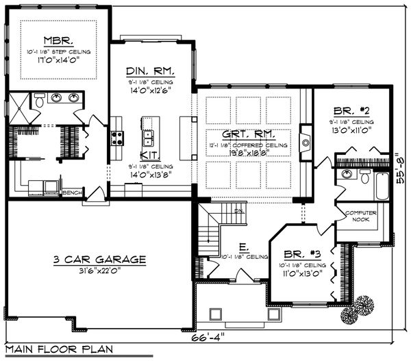 Craftsman Floor Plan - Main Floor Plan Plan #70-1215
