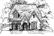 European Style House Plan - 4 Beds 4 Baths 3132 Sq/Ft Plan #141-371 Exterior - Front Elevation
