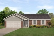 Ranch Style House Plan - 3 Beds 2 Baths 1277 Sq/Ft Plan #22-103 Exterior - Front Elevation
