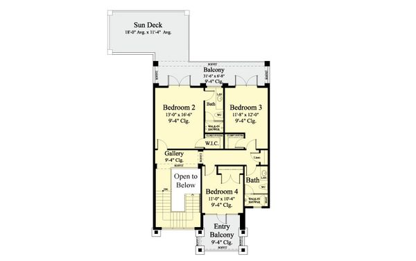 Contemporary Floor Plan - Upper Floor Plan Plan #930-461
