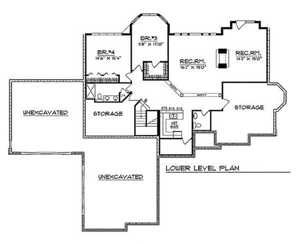 European Floor Plan - Lower Floor Plan #70-370