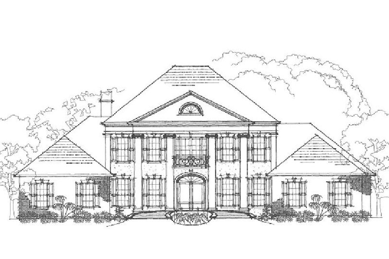 Colonial Style House Plan - 7 Beds 5 Baths 4623 Sq/Ft Plan #325-227 Exterior - Front Elevation