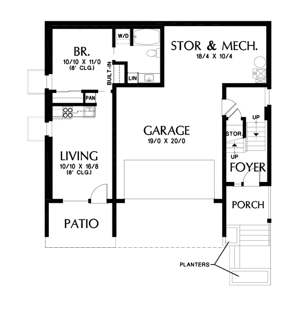 Contemporary Floor Plan - Lower Floor Plan Plan #48-1019