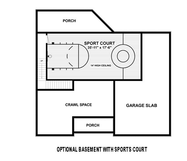 Optional Basement w/ Sports Court