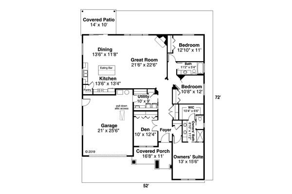 Ranch Floor Plan - Main Floor Plan Plan #124-1165
