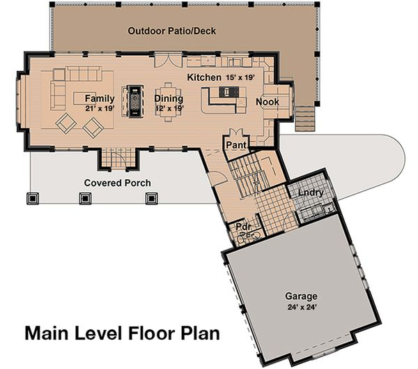 Craftsman Style House Plan - 4 Beds 4.5 Baths 4339 Sq/Ft Plan #908-1 Floor Plan - Main Floor Plan