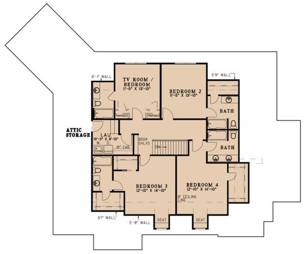 European Floor Plan - Upper Floor Plan Plan #923-79