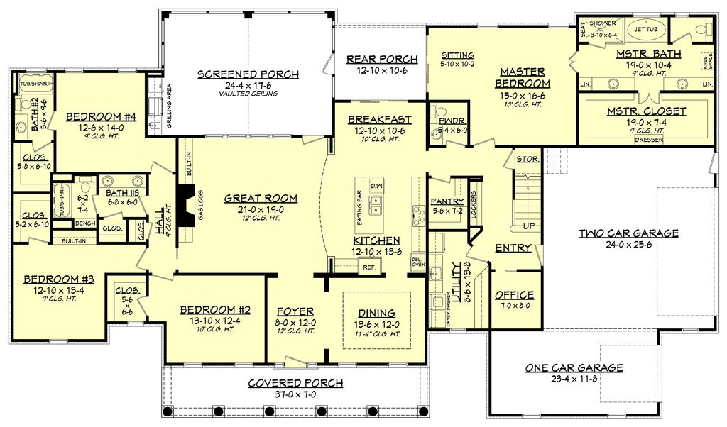 Country Style House Plan - 4 Beds 3.5 Baths 3194 Sq/Ft Plan ...