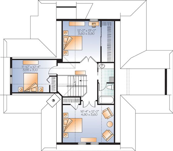 Contemporary Floor Plan - Upper Floor Plan Plan #23-2317