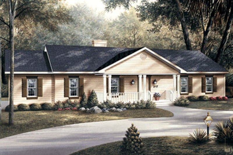 Ranch Exterior - Front Elevation Plan #57-108 - Houseplans.com