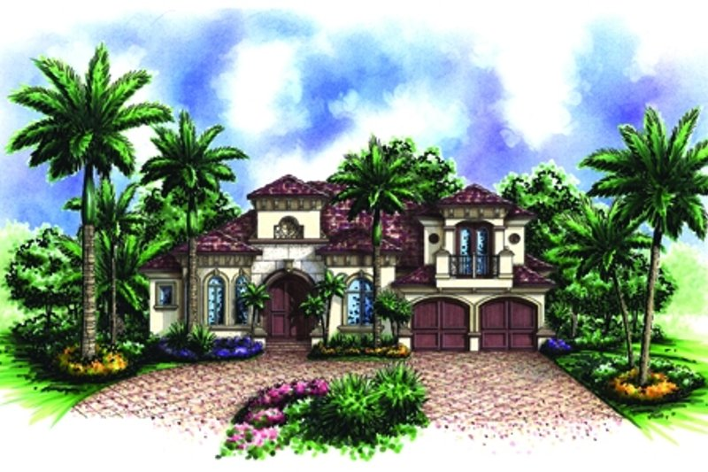 Mediterranean Style House Plan - 4 Beds 3 Baths 3145 Sq/Ft Plan #27-422 Exterior - Front Elevation