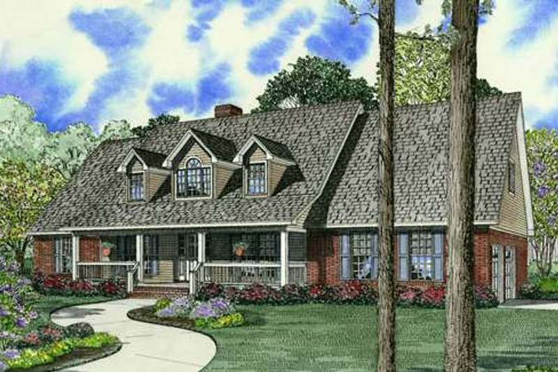 Country Style House Plan - 5 Beds 3 Baths 2747 Sq/Ft Plan #17-1161 Exterior - Front Elevation