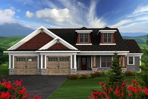 Ranch Exterior - Front Elevation Plan #70-1164