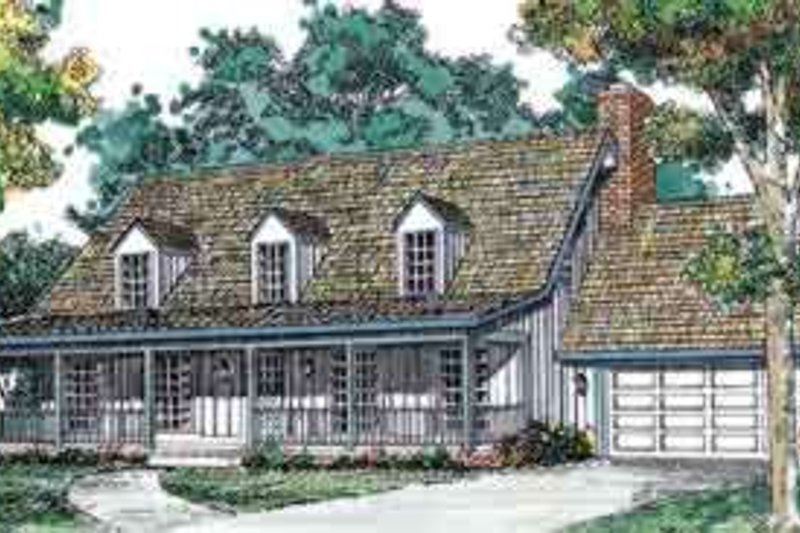 House Blueprint - Country Exterior - Front Elevation Plan #72-448