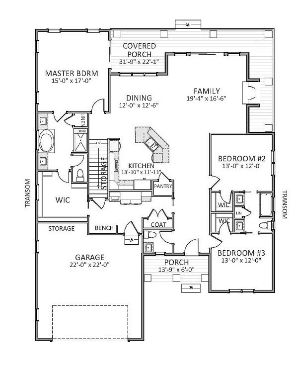 Traditional Floor Plan - Main Floor Plan Plan #898-45