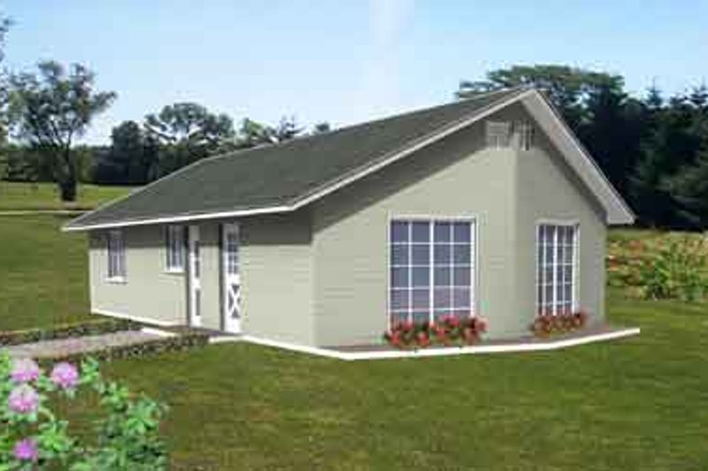 Mediterranean Style House Plan - 2 Beds 1 Baths 1016 Sq/Ft Plan #1-143 Exterior - Front Elevation