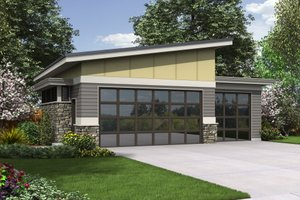 Contemporary Exterior - Front Elevation Plan #48-1006