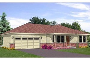 Ranch Exterior - Front Elevation Plan #116-266