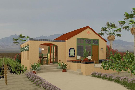 Adobe / Southwestern Exterior - Front Elevation Plan #917-3