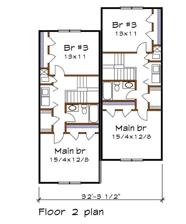 Architectural House Design - Southern Floor Plan - Upper Floor Plan #79-242