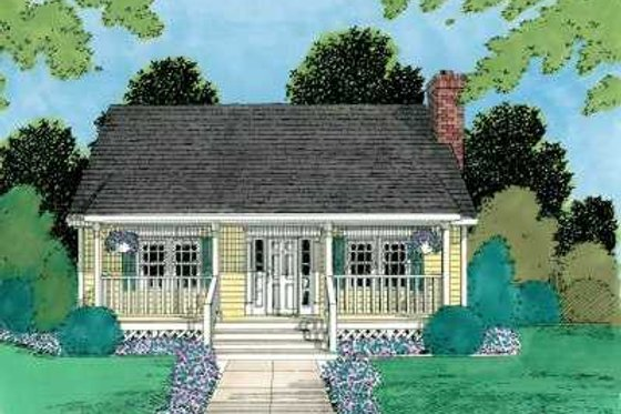 Cottage Exterior - Front Elevation Plan #75-167