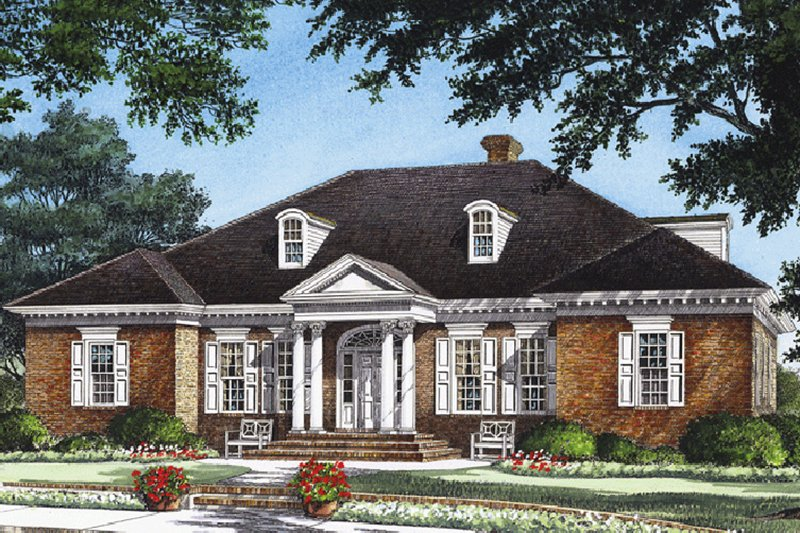 Southern Exterior - Front Elevation Plan #137-179