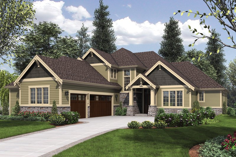 Craftsman Exterior - Front Elevation Plan #48-615