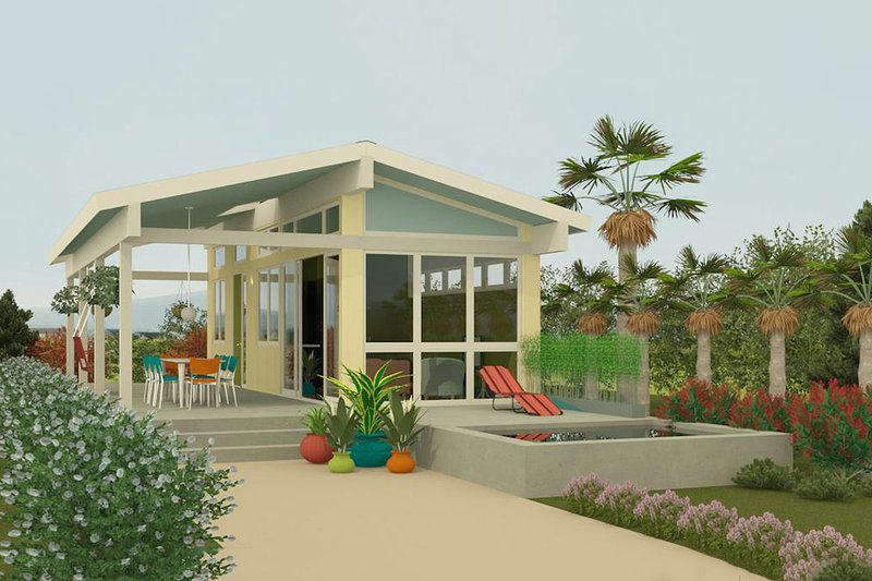 Contemporary Style House Plan - 1 Beds 1 Baths 400 Sq/Ft Plan #917-2 Exterior - Front Elevation