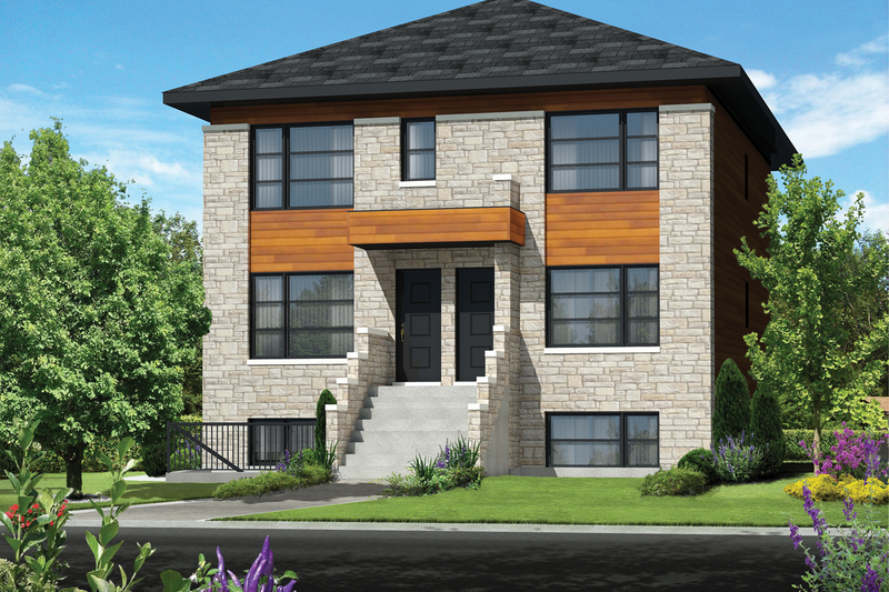 Contemporary Style House Plan - 9 Beds 3 Baths 3663 Sq/Ft Plan #25-4548 Exterior - Front Elevation