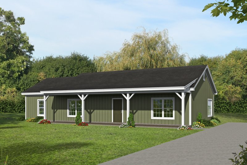 Country Style House Plan - 3 Beds 3 Baths 1642 Sq/Ft Plan #932-370 Exterior - Front Elevation