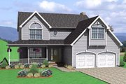 Traditional Style House Plan - 3 Beds 2.5 Baths 1742 Sq/Ft Plan #75-138 Exterior - Front Elevation