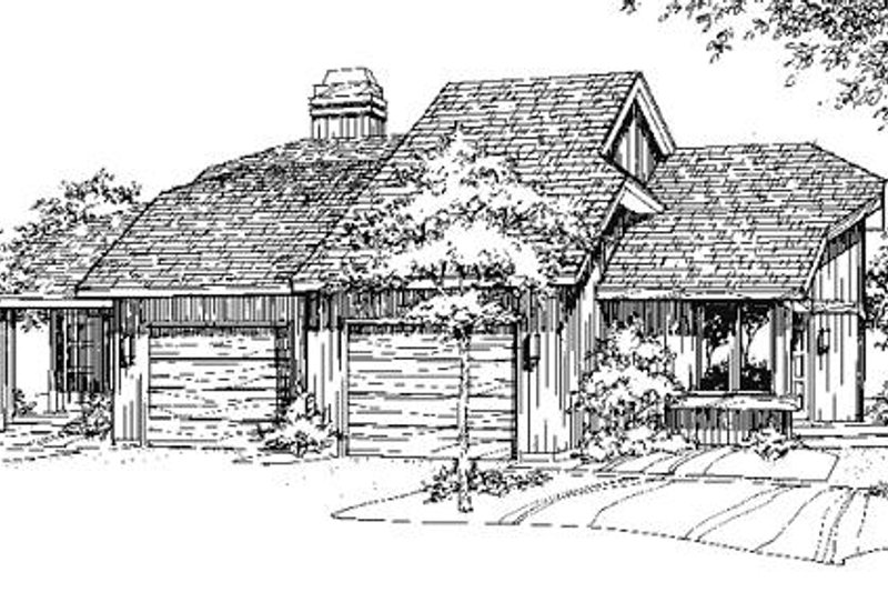 Contemporary Style House Plan - 1 Beds 1 Baths 1424 Sq/Ft Plan #320-320 Exterior - Front Elevation