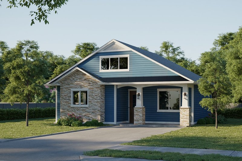 Ranch Exterior - Front Elevation Plan #1077-8