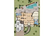Mediterranean Style House Plan - 4 Beds 5 Baths 4080 Sq/Ft Plan #548-15 Floor Plan - Main Floor