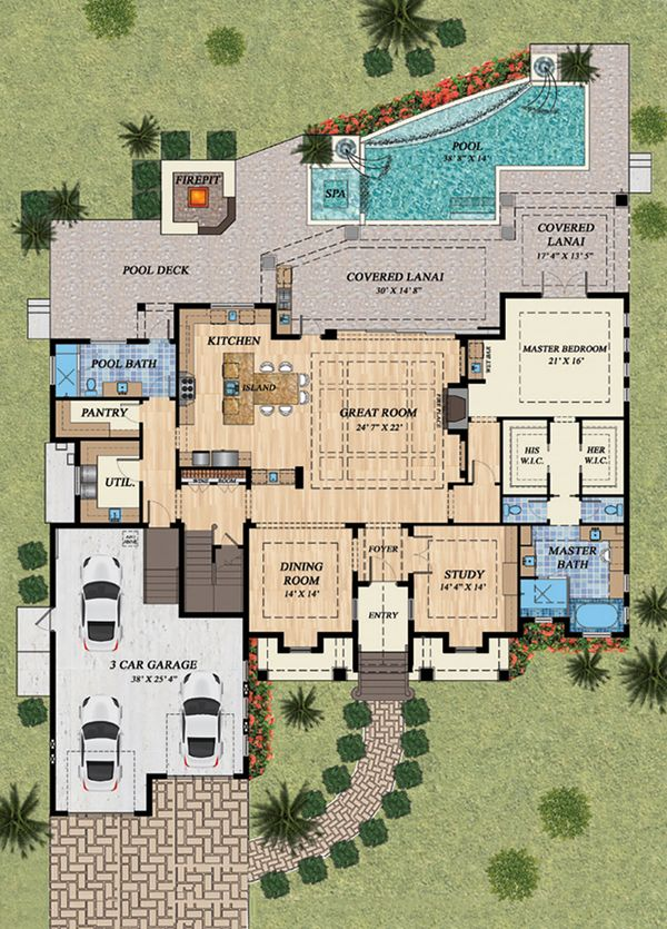 Mediterranean Floor Plan - Main Floor Plan #548-15