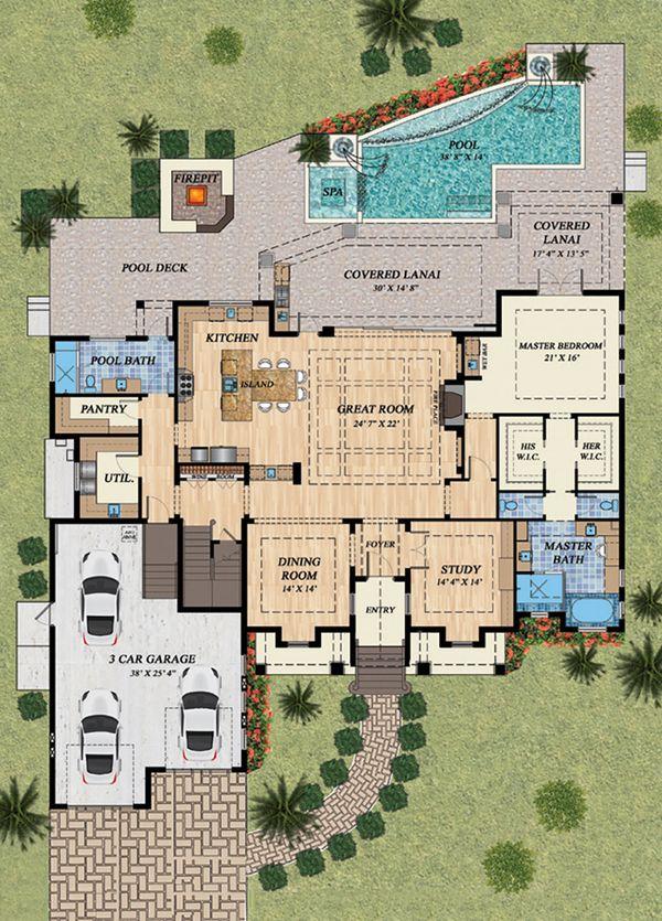 Mediterranean Floor Plan - Main Floor Plan Plan #548-15