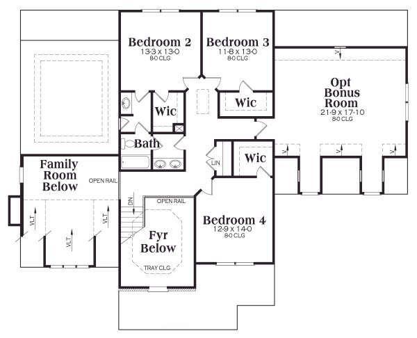 Craftsman Floor Plan - Upper Floor Plan Plan #419-137