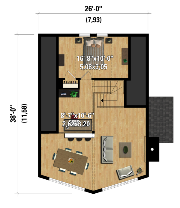 Cabin Floor Plan - Upper Floor Plan Plan #25-4586