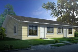 Ranch Exterior - Front Elevation Plan #1-1300