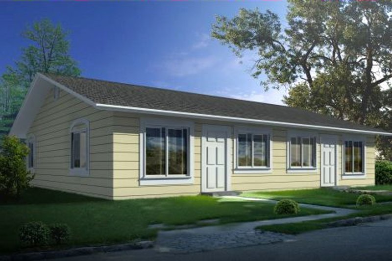 Ranch Style House Plan - 2 Beds 1 Baths 1584 Sq/Ft Plan #1-1300 Exterior - Front Elevation