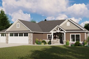 Ranch Exterior - Front Elevation Plan #1064-87